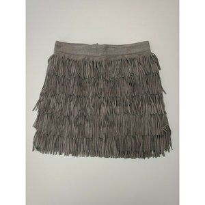 Sportsgirl Grey Suede Fringed Skirt Size 6